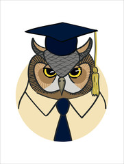 vector portrait of the scientist eagle owl