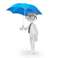 3D character holding an umbrella