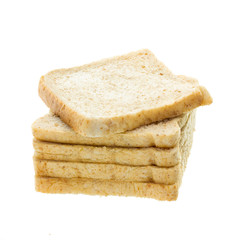 Stack of bread on white