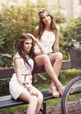 Beautiful boho girls in park poster