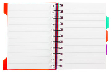 blank note book on a white