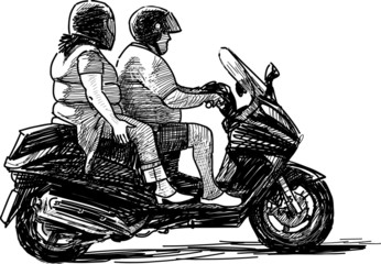 two on motorcycle