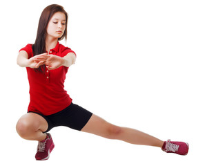 Sports girl doing exercises. isolated