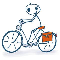 Strichmännchen mit Fahrrad