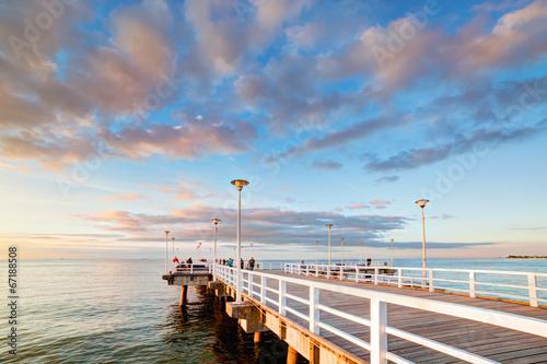 Beautiful retro pier at sunset. Gdansk Brzezno, Poland - 67188508