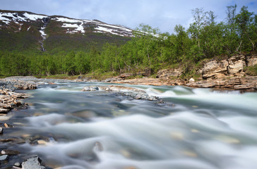River in the canyon in Abisko National Park
