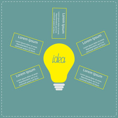 Big yellow light bulb infographic with text. Idea concept.