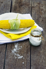 Boiled Sweet Corn with salt