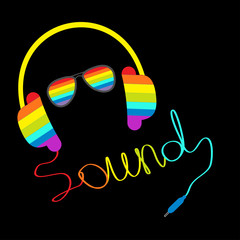 Rainbow headphones cord in shape of word sound and sunglasses