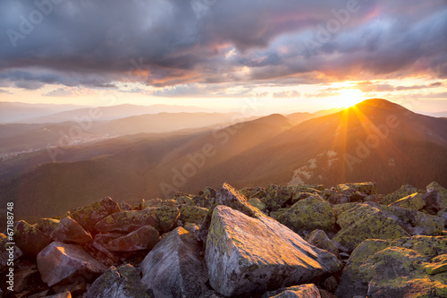 Keuken foto achterwand Bergen Majestic sunset in the mountains landscape. Dramatic sky and col