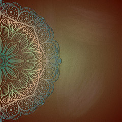 Vintage lace doily on a grungy background.