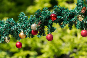 Christmas Garlands And Hanging Balls Decorations