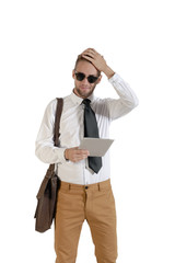 young handsome businessman with digital tablet on white