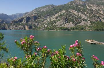 Panorama Oymapinar dam reservoir on the river Manavgat