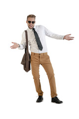young handsome businessman with arms extended on white