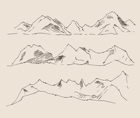 the contours of the mountains, set, vintage illustration