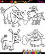 farm animals set cartoon coloring book