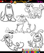 dogs set cartoon coloring book