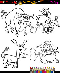 farm animals set cartoon coloring book