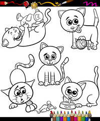 cats set cartoon coloring book
