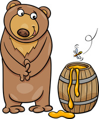 bear with honey cartoon illustration