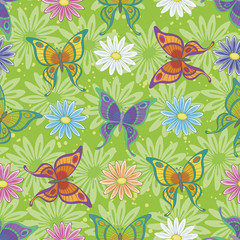Seamless pattern, butterflies and flowers
