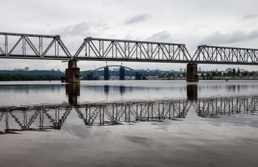 Petrivskiy railroad bridge in Kyiv (Ukraine) across the Dnieper