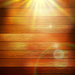 Wooden boards with sun light. plus EPS10