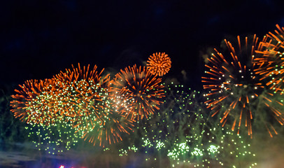 Celebratory fireworks salute