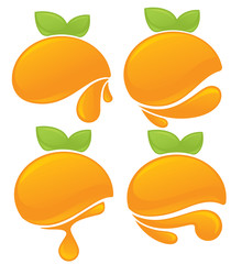 fresh stylized orange fruits, stickers and emblems