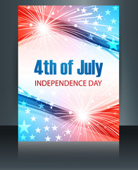 4th july american independence day template brochure reflection