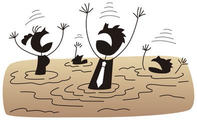 泥沼にはまるビジネスマン