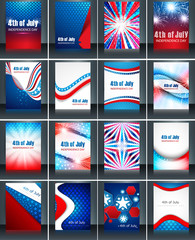 4th of july american independence day collection card set celebr