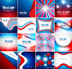 4th of july american independence day collection card set presen