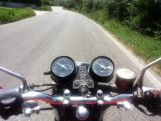 Ride the motorcycle on the road