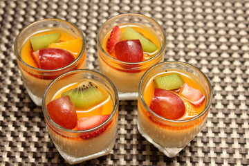 creme caramel dessert on top fresh fruit