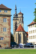 Leinwanddruck Bild - Stuttgart, Stiftskirche (aus dem Schloßplatz) - Juli 2014