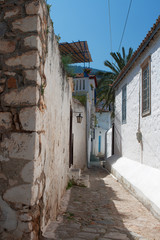 Narrow passage between houses, Hydra Island