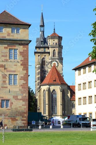 Leinwanddruck Bild Stuttgart, Stiftskirche (aus dem Schloßplatz) - Juli 2014