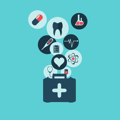 Abstract medical background with flat web icons.