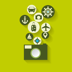 Abstract travel background with flat web icons.