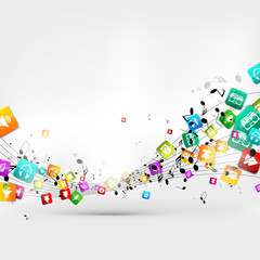 Abstract music background with notes and app icons © 32 pixels