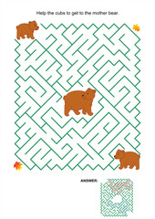 Maze game - mother bear and her cubs