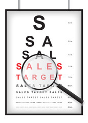 Clear sales target in eyesight test concept