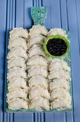 Raw Dumplings (Varenyky) with blueberries