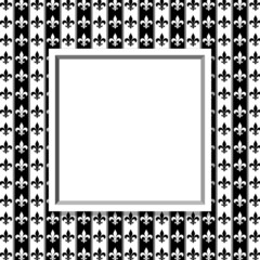 Black and White Fleur De Lis Pattern Textured Fabric with Frame