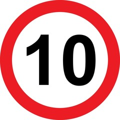 10 speed limitation road sign