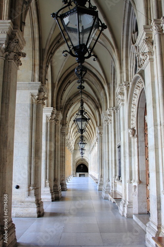 Colonnade in Vienna City Hall, Austria