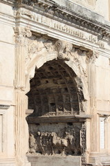 Basreliefs in the Arch of Titus of Rome, Italy