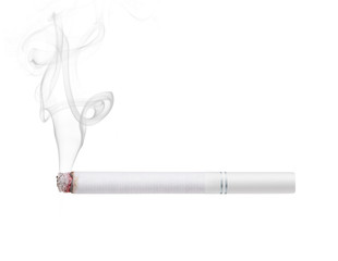Smoking cigarette with white filter isolated on white background